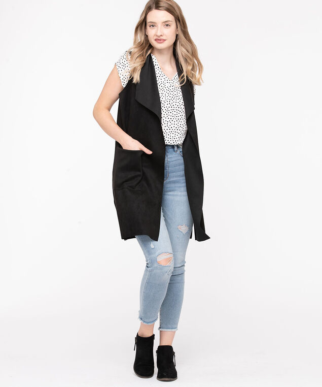 Long Faux Suede Vest, Black, hi-res