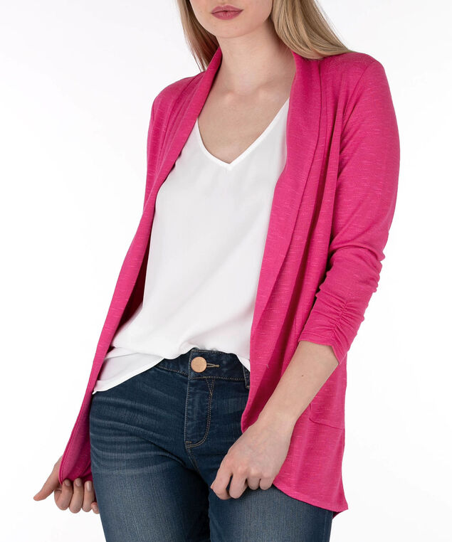Shawl Collar Cardigan, Hot Pink, hi-res