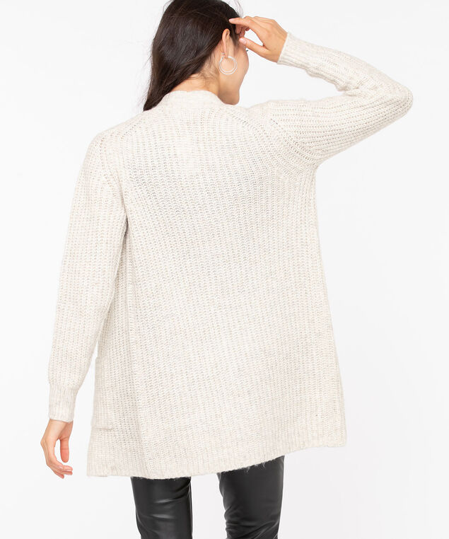 Textured Open Front Cardigan, Oatmeal Mix, hi-res