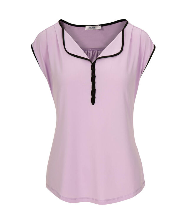 Tipped Button Front Top, Iced Violet/Black, hi-res