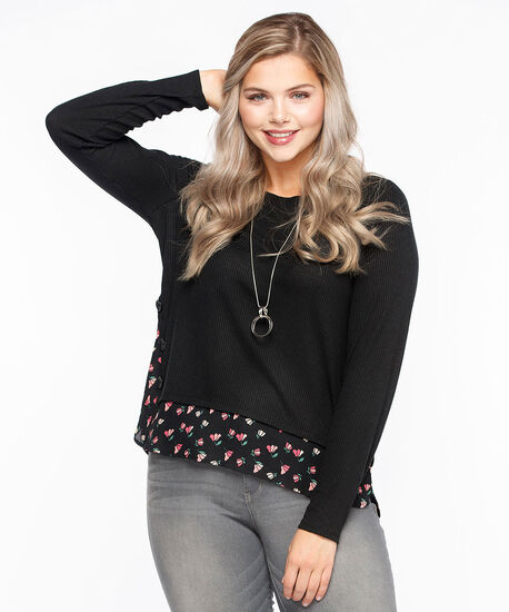 Lightweight Knit Button Trim Fooler Top, Black, hi-res