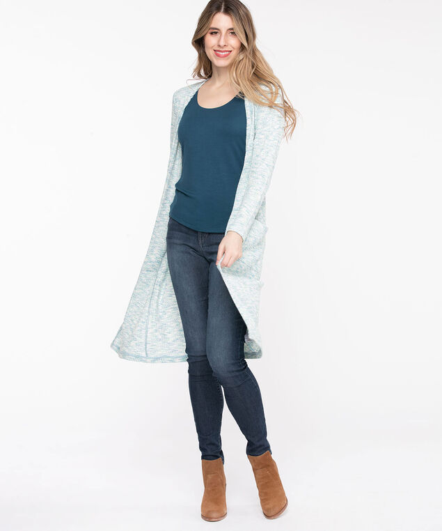 Waffle Knit Open Duster Cardigan, Angel Blue Mix