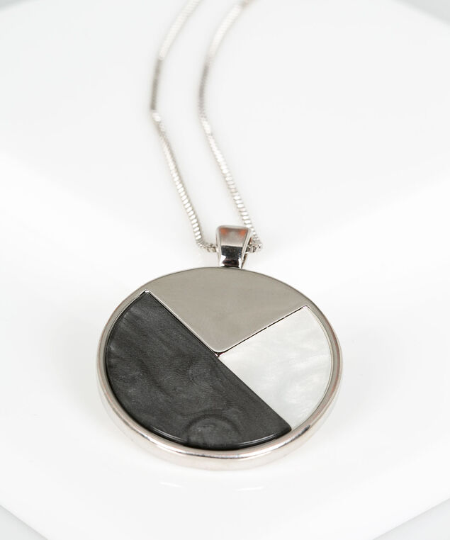 Mixed Resin Circle Pendant Necklace, Rhodium/Charcoal/Pearl, hi-res