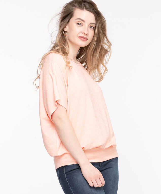 Extended Sleeve Banded Bottom Top, Coral Reef
