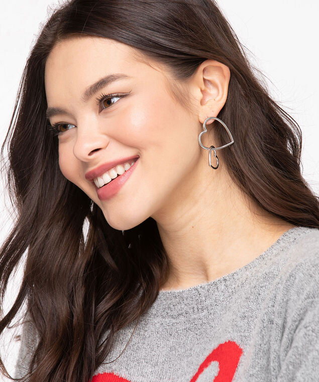 Double Dangling Heart Earring, Silver
