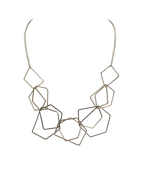 Linked Open Geo Statement Necklace, Rhodium, hi-res