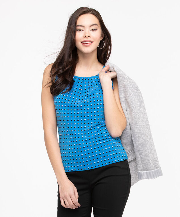 Sleeveless Pleat Neck Top, Azure/Black, hi-res