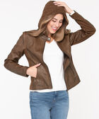 Hooded Faux Leather Knit Jacket, Cold Brew, hi-res