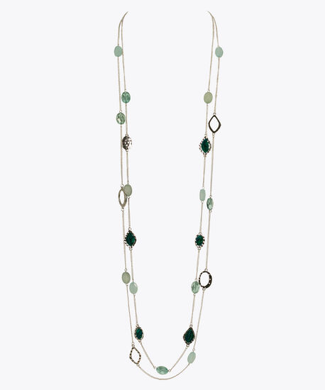 Stationed Bead & Hammered Metal Long Necklace, Green/Rhodium, hi-res