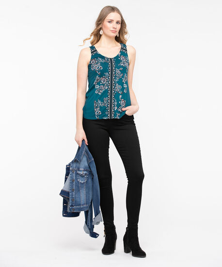 Sleeveless Embroidered Trim Top, Midnight Teal/Black/Pearl/Rose Petal, hi-res