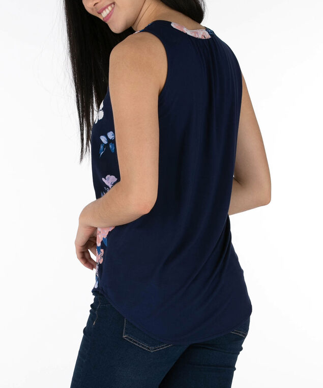 Sleeveless Henley Top, Summer Navy/Coral, hi-res
