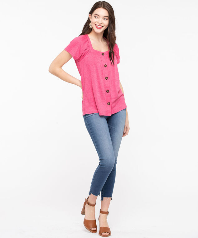Square Neck Button Front Top, Mid Pink, hi-res