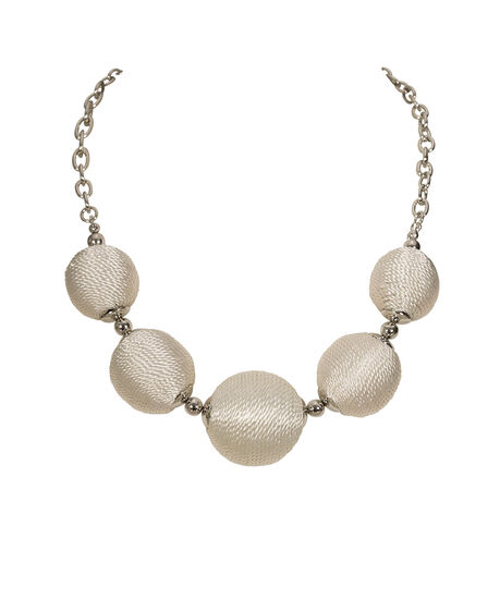 Thread Wrapped Ball Statement Necklace, White/Rhodium, hi-res