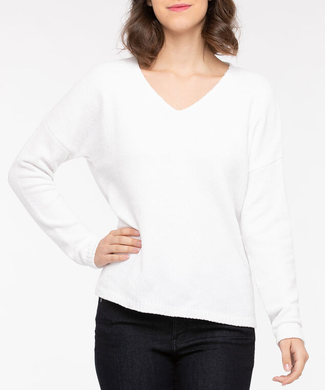 Cozy Chenille V-Neck Sweater, Pearl, hi-res