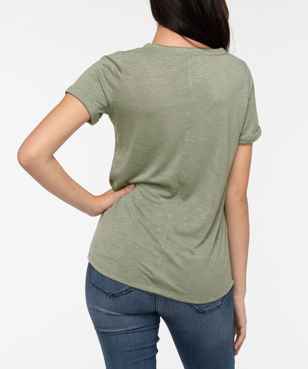 Mesh Insert V-Neck Tee, Light Sage, hi-res