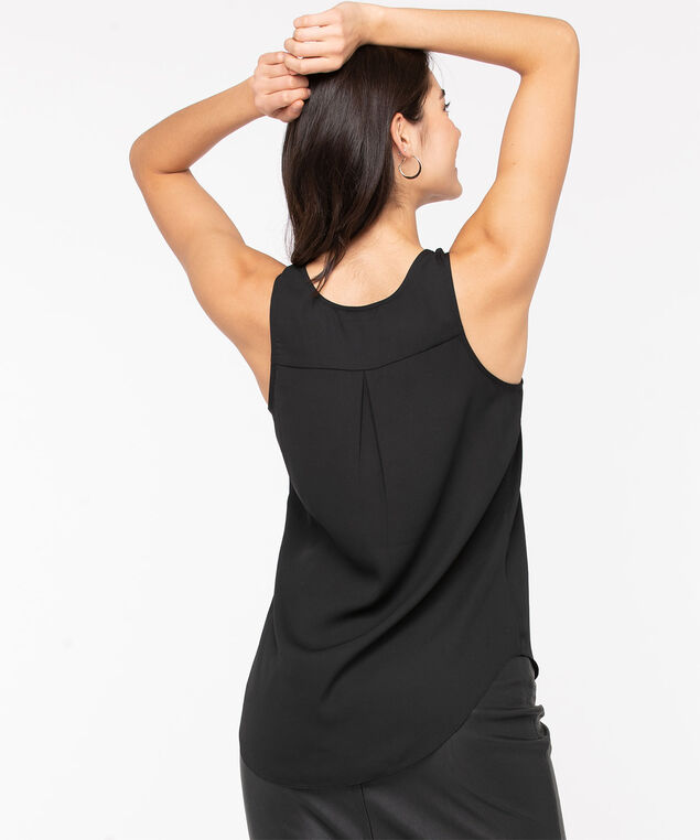Pleat Back Woven Essential Cami, Black