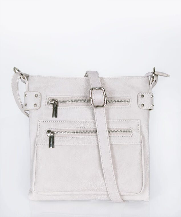 Studded Crossbody Satchel, Grey, hi-res