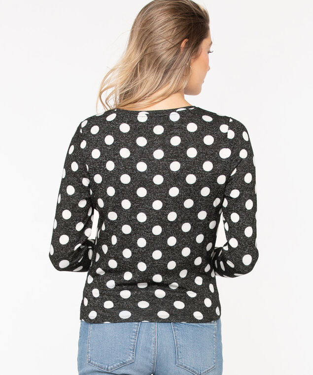 Twist Front Lightweight Knit Top, Charcoal/Pearl