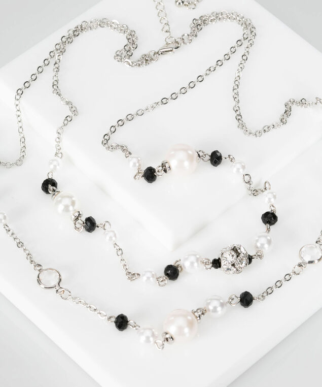 Bead & Crystal Statement Necklace, Black/True White/Rhodium, hi-res