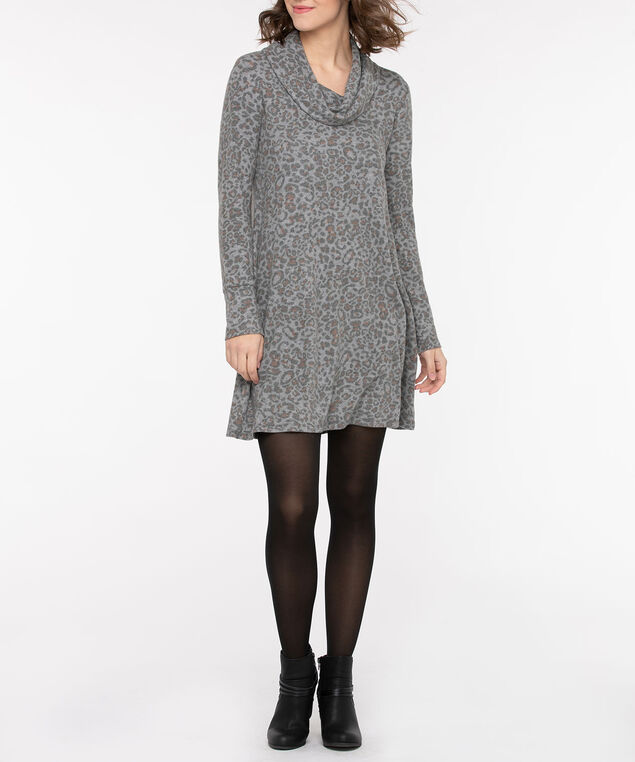 Brushed Cowl Neck Sweater Dress, Light Heather Grey/Charcoal/Camel, hi-res