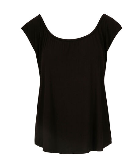 Gathered Neck Extended Sleeve Tee, Black, hi-res