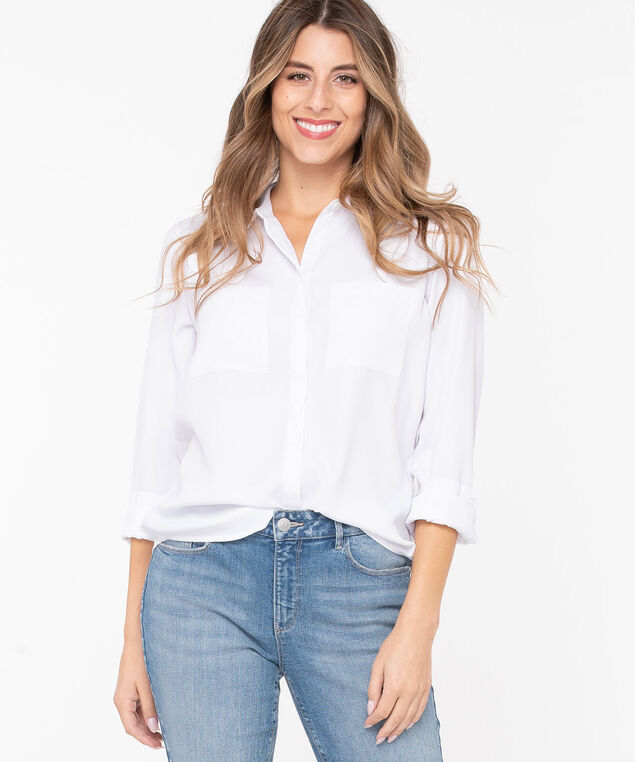Collared Button Front Blouse, Pearl, hi-res