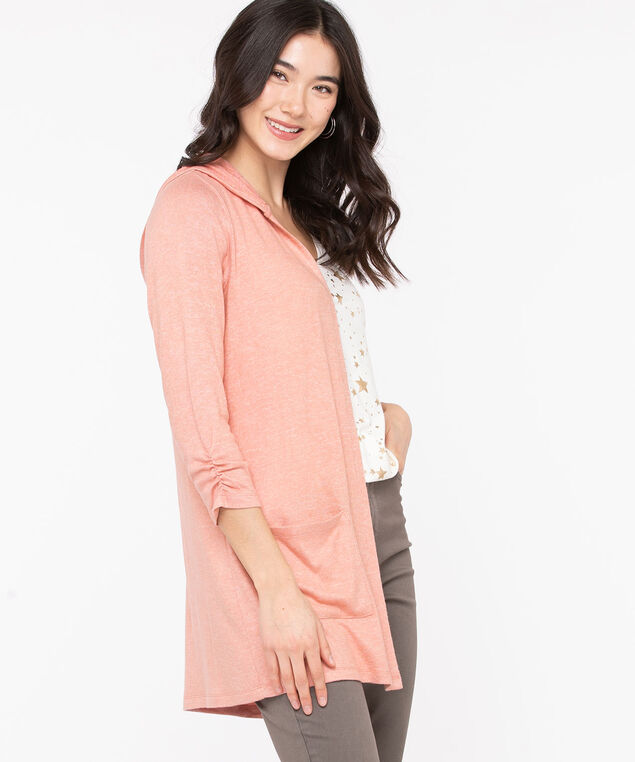 Hooded Tunic Length Open Cardigan, Misty Rose, hi-res