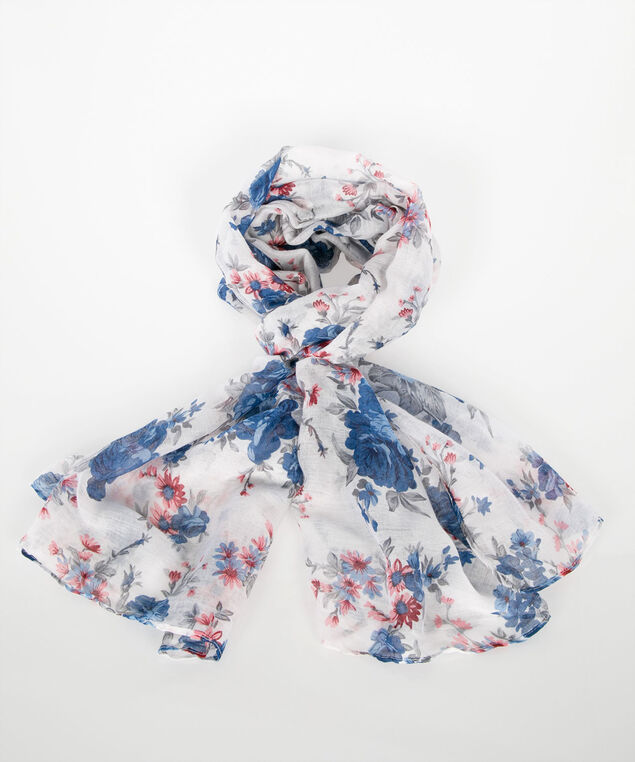 Floral Oblong Scarf, True White/Deep Sapphire/Blackcherry, hi-res