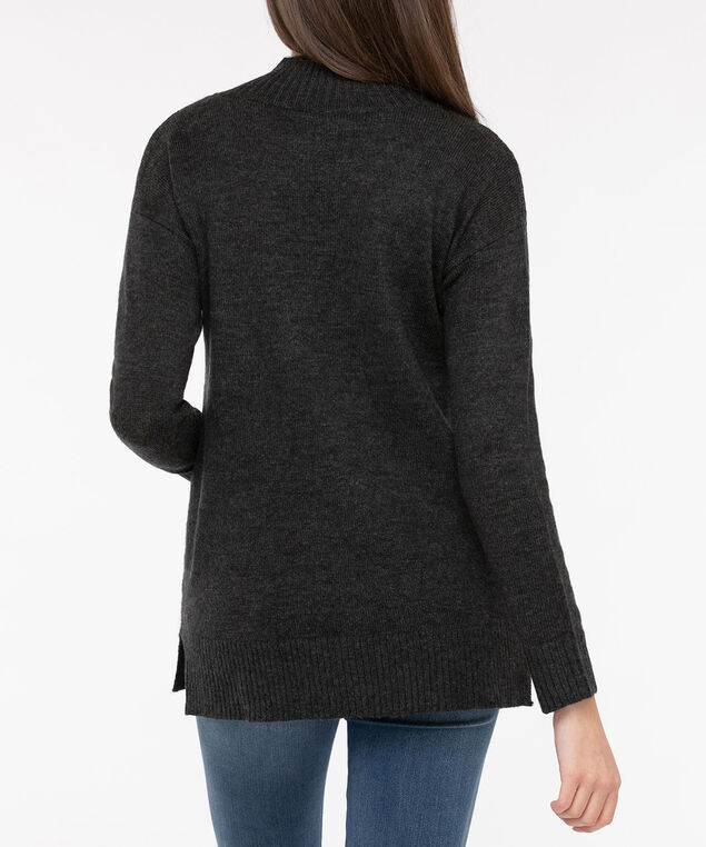 Snowflake Mock Neck Sweater, Heather Charcoal/ Pearl, hi-res