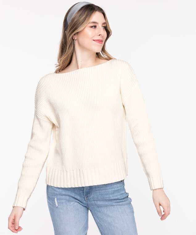 Ribbed Boat Neck Pullover Sweater, Whisper White