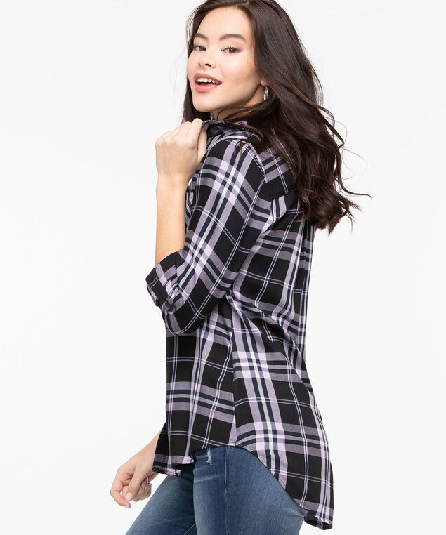 Plaid Button Front Collared Shirt, Black/Lavender, hi-res