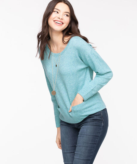 Scoop Neck Pocket Hem Sweater, Reef Waters Mix, hi-res