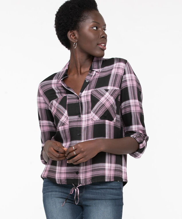 Button Front Drawstring Blouse, Rose Smoke Plaid