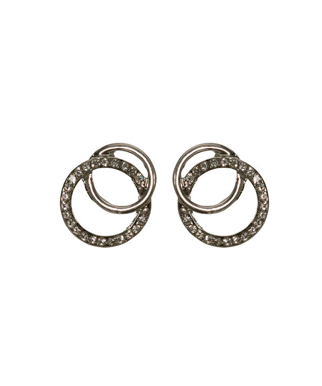 Intertwined Crystal & Metal Earring, Clear/Rhodium, hi-res