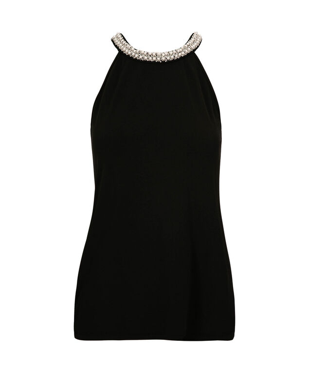 Pearl Neck Halter Top, Black, hi-res