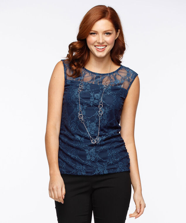 Lace Overlay Illusion Neck Top, Cloudy Blue, hi-res