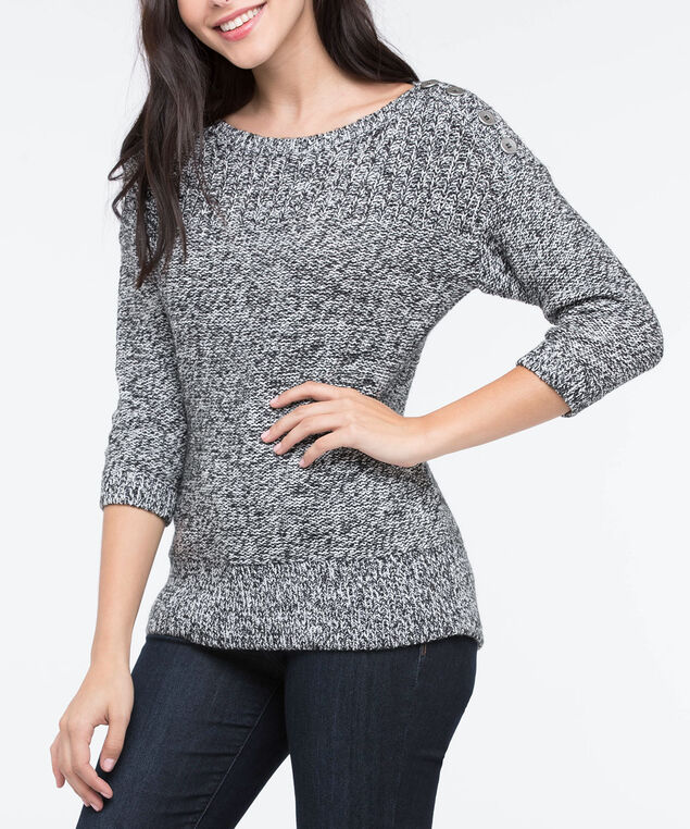 Silver Button Trim Pullover Sweater, Black Mix, hi-res