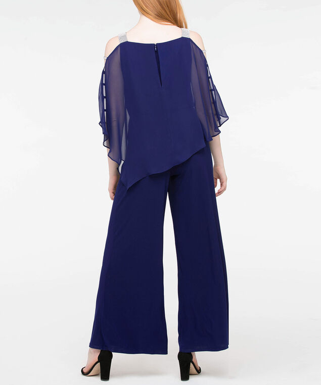 Crystal Trim Cape Overlay Jumpsuit, Deep Sapphire, hi-res