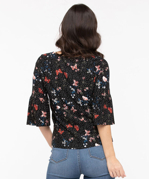 Flounce Sleeve Scoop Neck Top, Black/Midnight Teal/Chili, hi-res