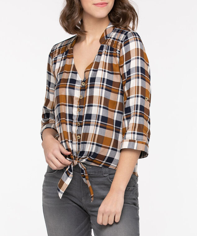 Tie Front Smocked Plaid Shirt, Navy/Camel, hi-res