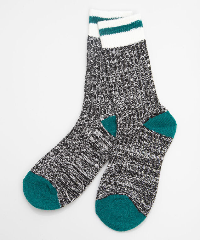 Soft Cabin Socks, Mid Heathered Grey/Ivy/Pearl, hi-res