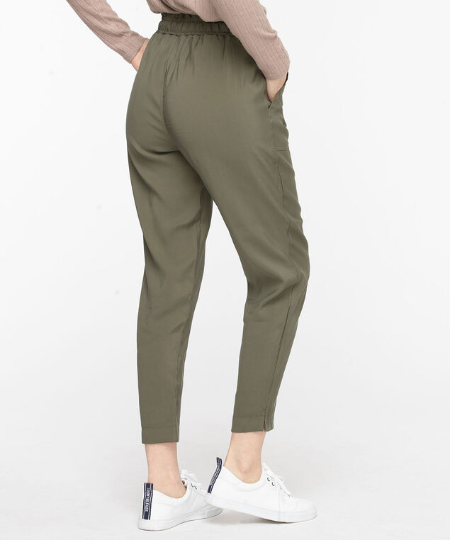 Tie Waist Tapered Pant, Olive, hi-res