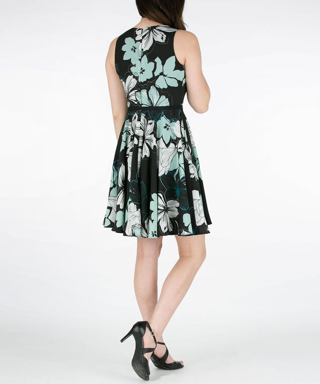 Sleeveless Ribbon Belted Dress, Black/Emerald/Ivory, hi-res