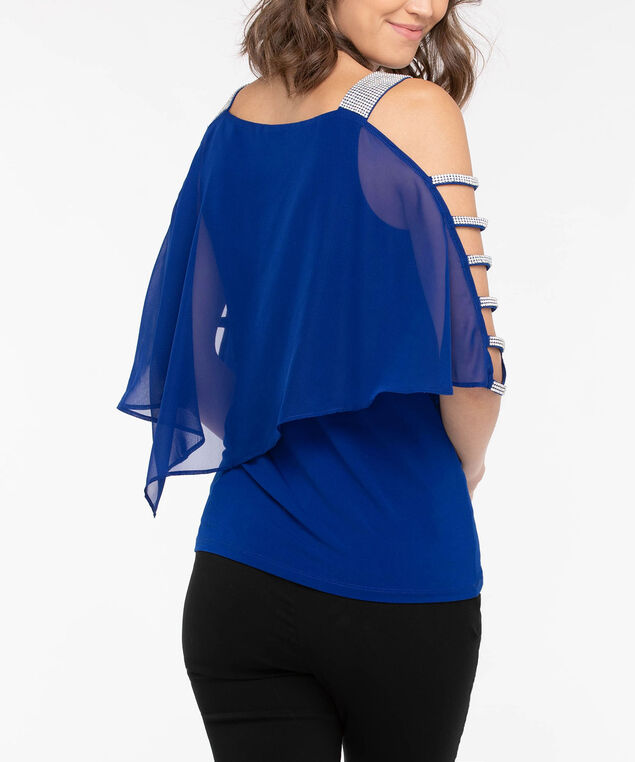 Rhinestone Trim Cape Overlay Top, Glitz Blue, hi-res
