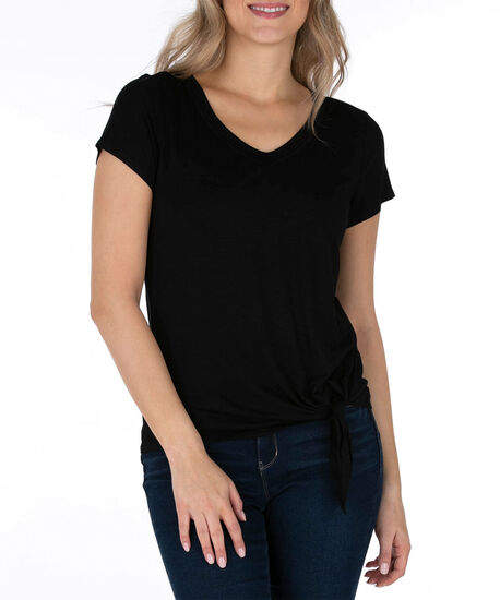 Tie-Front V-Neck Top, Black, hi-res