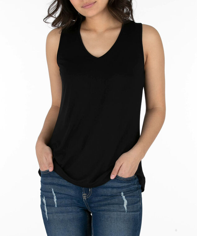 Lace-Up Back Sleeveless Top, Black, hi-res