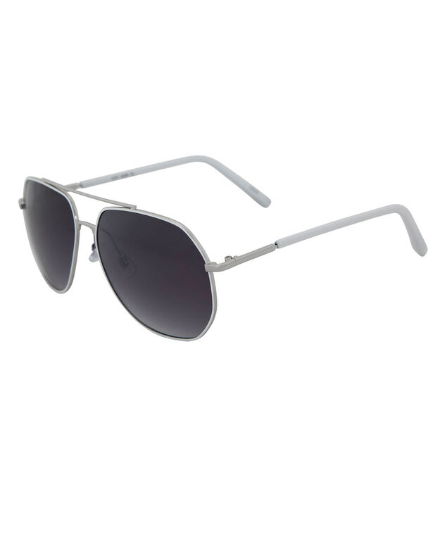 White Angular Aviator Sunglasses, White/Silver, hi-res