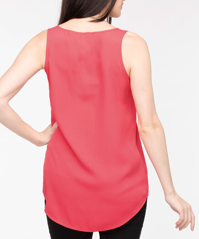 Scoop Neck Woven Layering Cami, Strawberry, hi-res