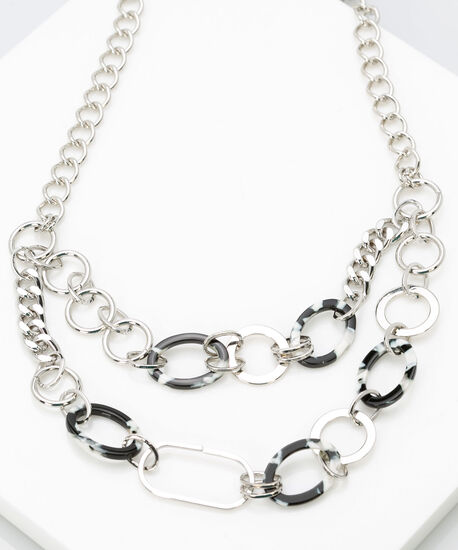 Chain and Resin Necklace, Black, hi-res