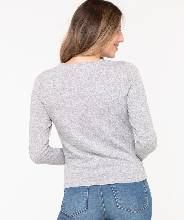 Twist Front Lightweight Knit Top, Light Heather Grey, hi-res